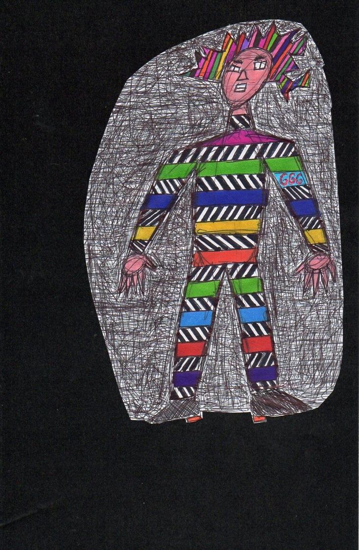 Striped Man On A Dark Night